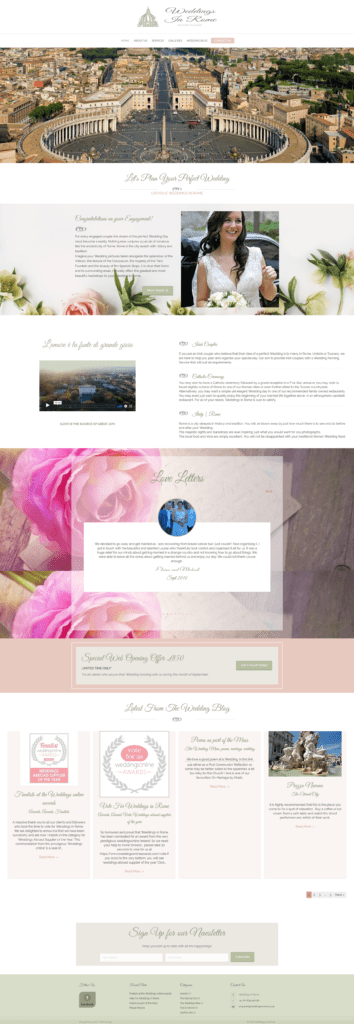 Screen Shot of www.weddingsinrome.co.uk homepage