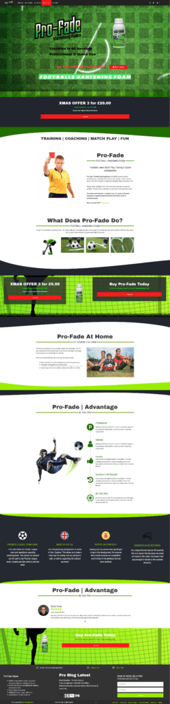 Screen shot of Pro-fade.com home page