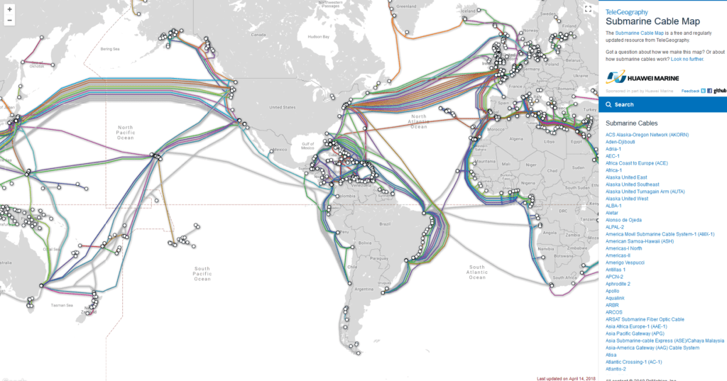 Submarine Cable Map | AlexT Web Design Studio