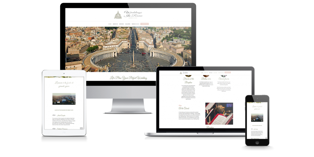 4 device mockup of weddings in rome showing the website in variuos states of responisves